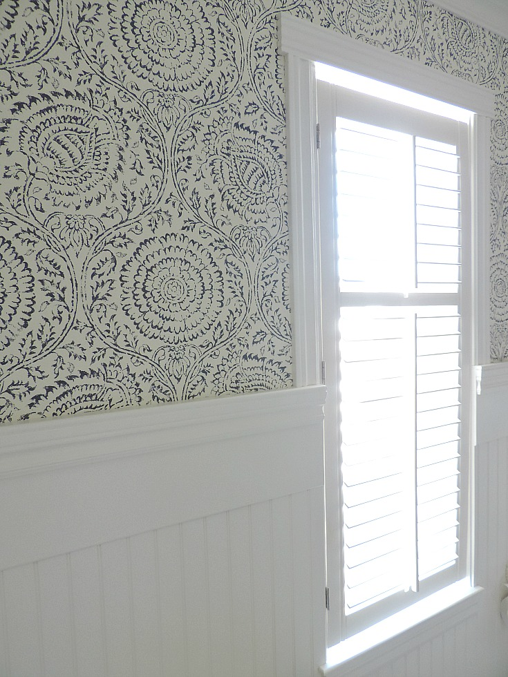 blue and white wallpaper with wainscoting, DIY shutter