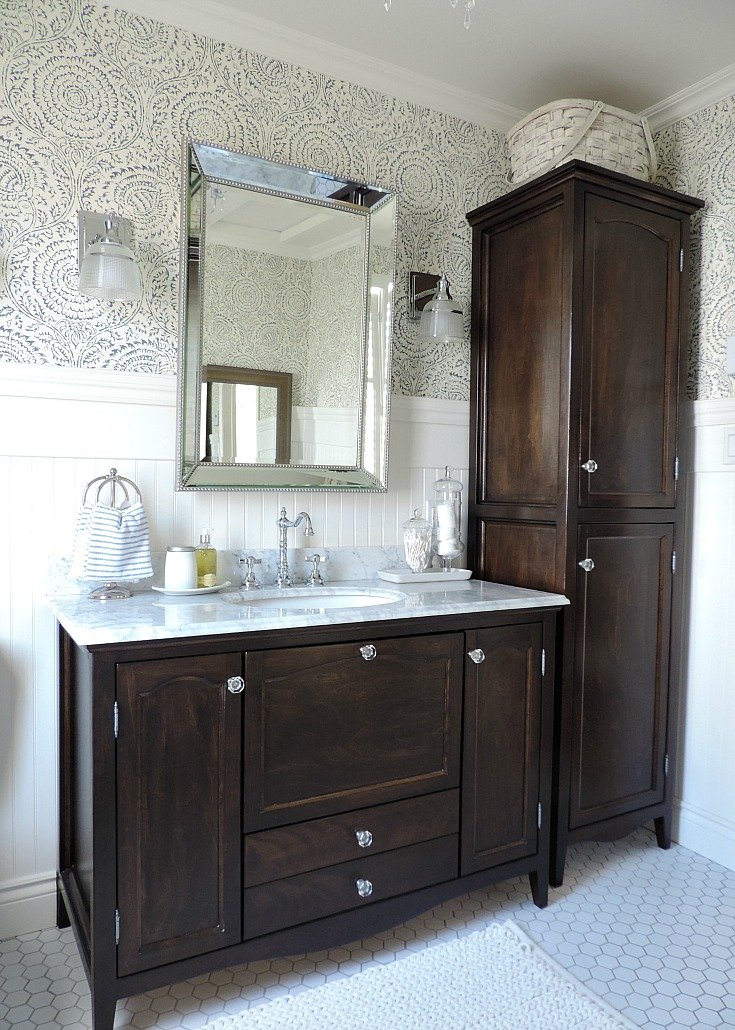 bathroom refresh, espresso and marble top vanity