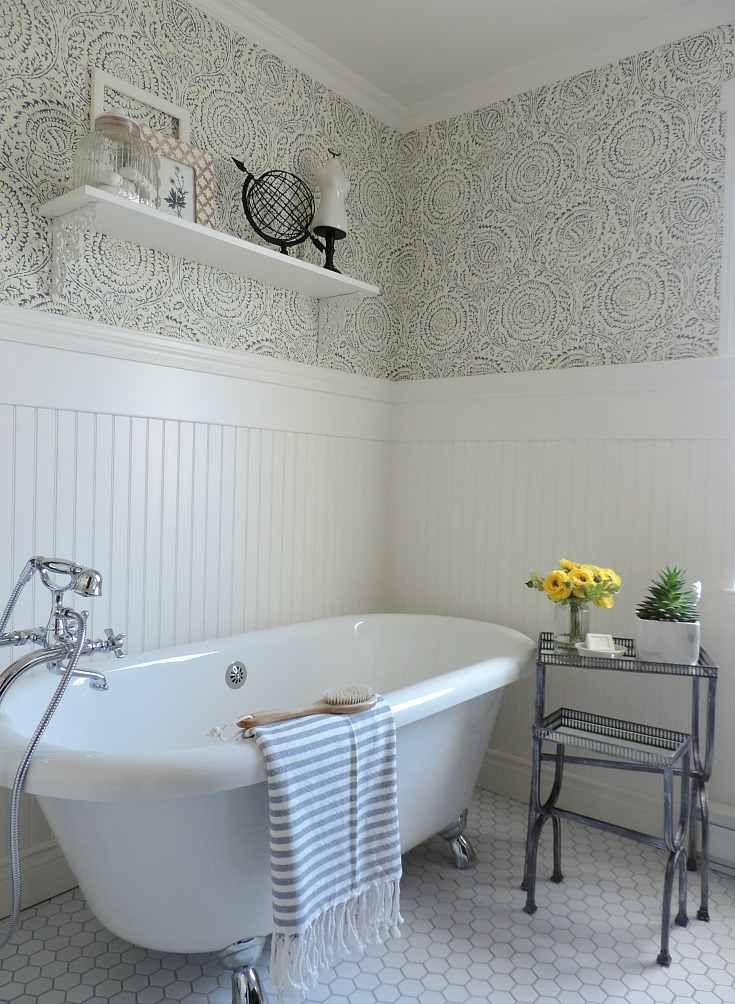 bathroom refresh, blue and white wallpaper, claw foot tub