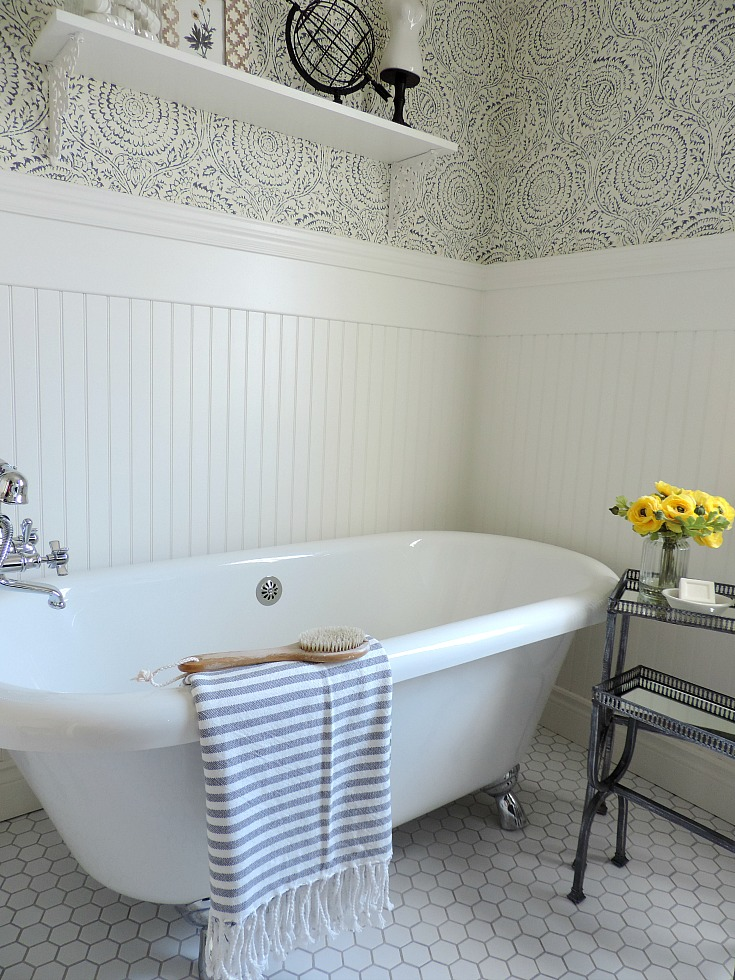 bathroom refresh with blue and white wallpaper, claw foot tub