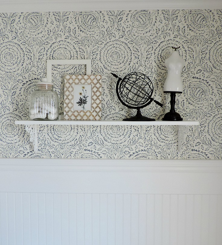 bathroom refresh, blue and white wallpaper, decorative shelf