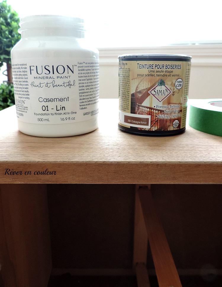 rénover une table de chevet avec mineral fusion paint, photos avant-après